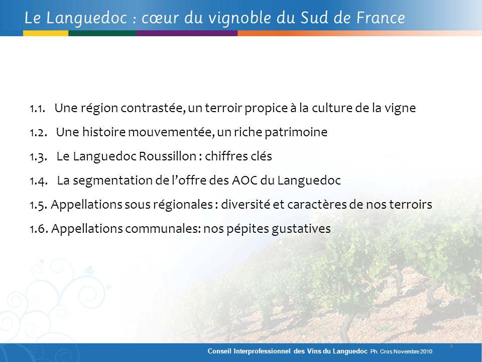 1.1. Une région contrastée, un terroir propice à la culture de la vigne 1.2. Une histoire mouvementée, un riche patrimoine 1.3. Le Languedoc Roussillo