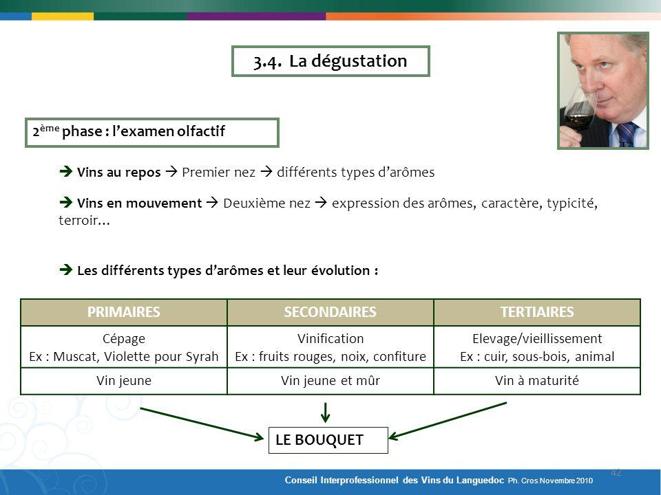 2 ème phase : lexamen olfactif Vins au repos Premier nez différents types darômes Vins en mouvement Deuxième nez expression des arômes, caractère, typ