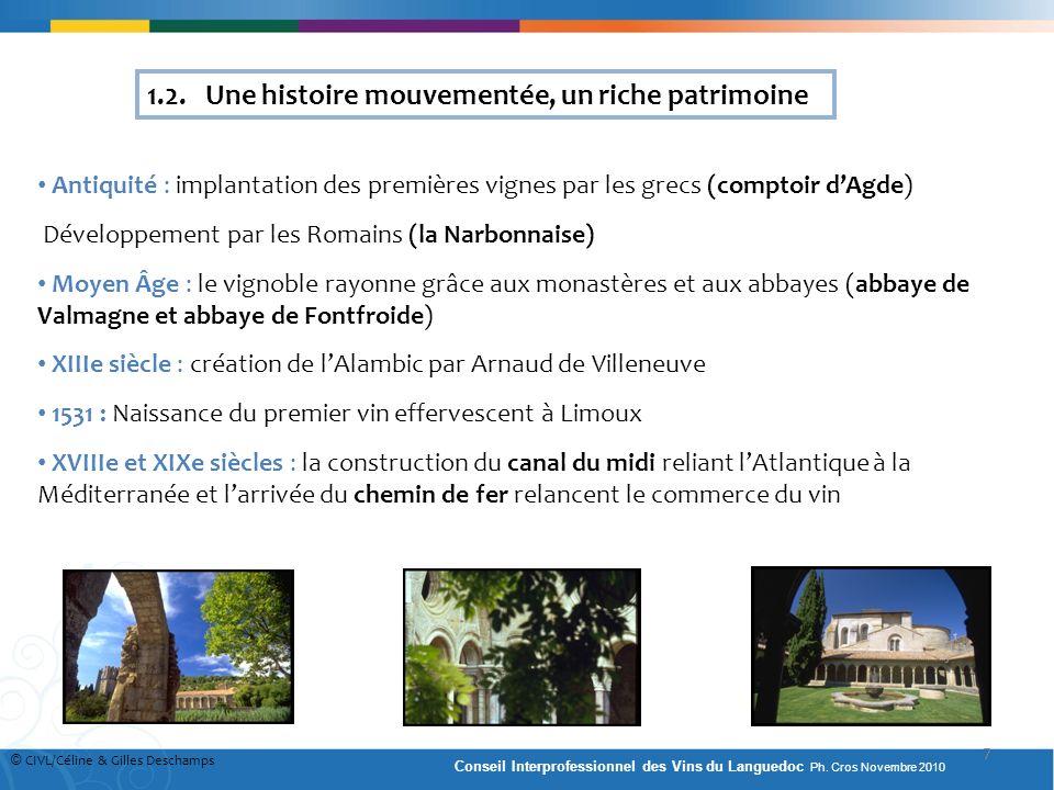 Antiquité : implantation des premières vignes par les grecs (comptoir dAgde) Développement par les Romains (la Narbonnaise) Moyen Âge : le vignoble ra
