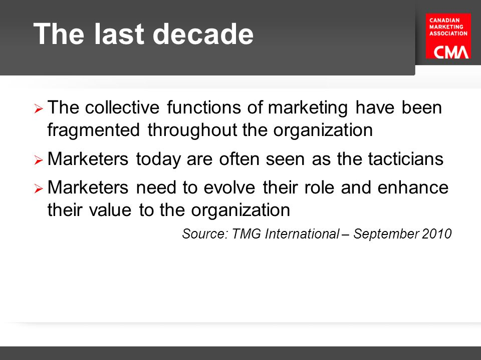 The last decade Customer shift from monologue to dialogue Nearly 2 out of 3 consumers (64%) have made a first purchase from a brand because of a digital experience No other medium has so impacted -- or altered -- the traditional marketing funnel this way Source: TMG International – September 2010 Radical changes in way we interact with consumers