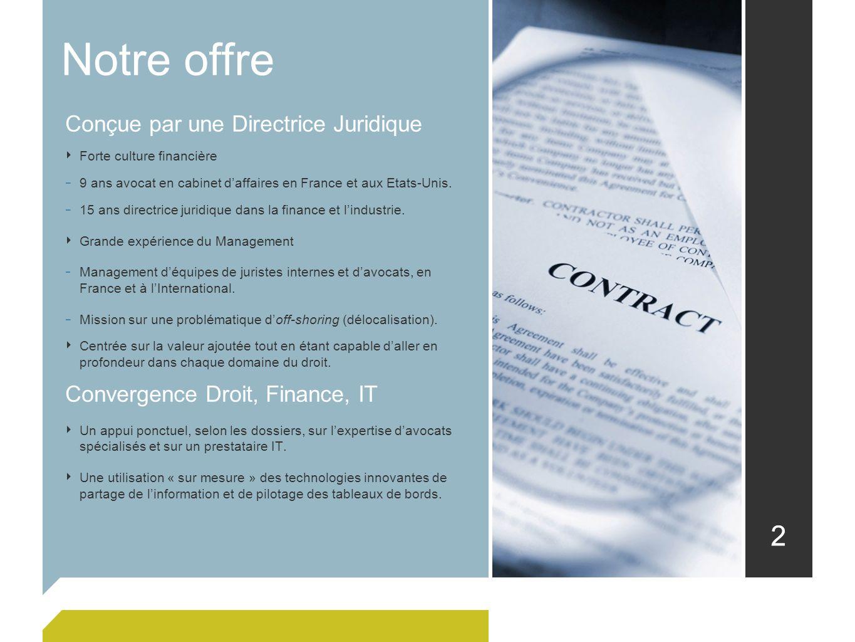 22 Conçue par une Directrice Juridique Forte culture financière - 9 ans avocat en cabinet daffaires en France et aux Etats-Unis. - 15 ans directrice j