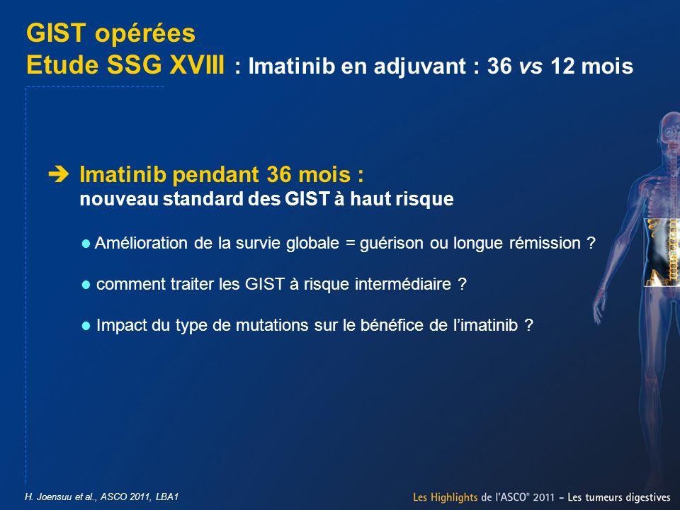 H. Joensuu et al., ASCO 2011, LBA1 GIST opérées Etude SSG XVIII : Imatinib en adjuvant : 36 vs 12 mois Imatinib pendant 36 mois : nouveau standard des
