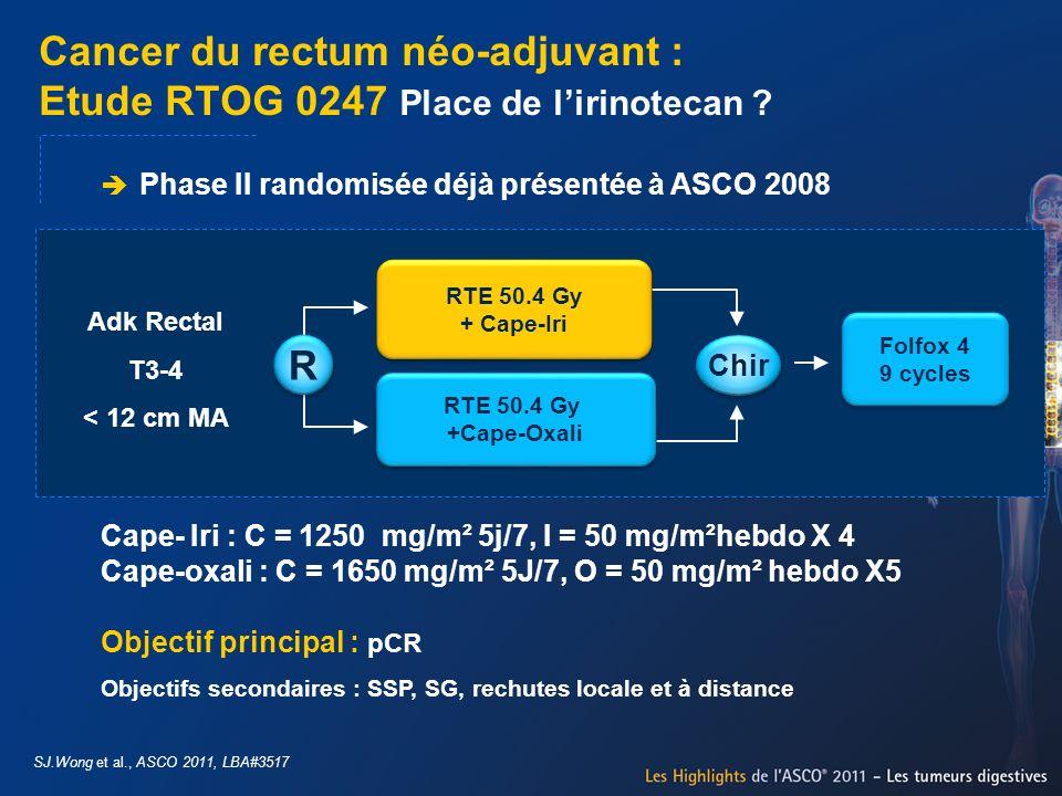 Cancer du rectum néo-adjuvant : Etude RTOG 0247 Place de lirinotecan ? SJ.Wong et al., ASCO 2011, LBA#3517 Phase II randomisée déjà présentée à ASCO 2