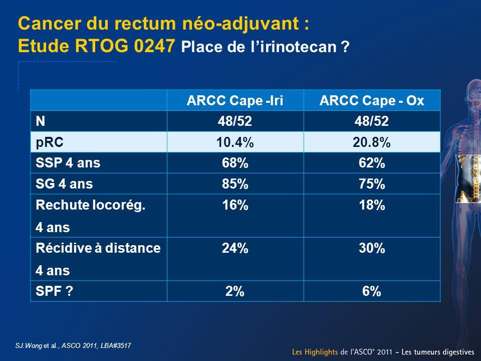 Cancer du rectum néo-adjuvant : Etude RTOG 0247 Place de lirinotecan ? SJ.Wong et al., ASCO 2011, LBA#3517 ARCC Cape -IriARCC Cape - Ox N48/52 pRC10.4
