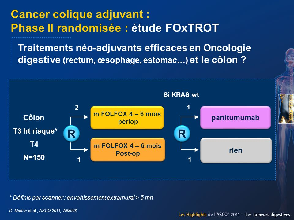 Traitements néo-adjuvants efficaces en Oncologie digestive (rectum, œsophage, estomac…) et le côlon ? Côlon T3 ht risque* T4 N=150 m FOLFOX 4 – 6 mois