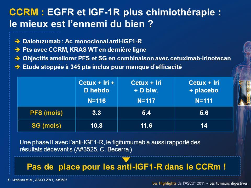 CCRM : EGFR et IGF-1R plus chimiothérapie : le mieux est lennemi du bien ? D. Watkins et al., ASCO 2011, A#3501 Dalotuzumab : Ac monoclonal anti-IGF1-