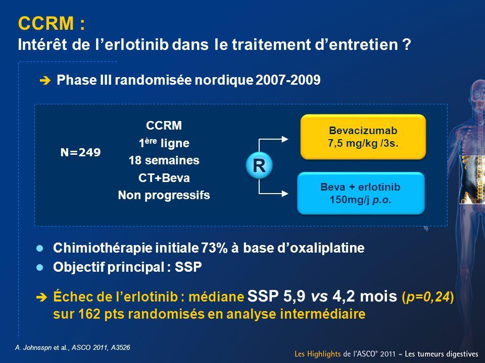 CCRM : Intérêt de lerlotinib dans le traitement dentretien ? A. Johnsspn et al., ASCO 2011, A3526 Phase III randomisée nordique 2007-2009 Chimiothérap