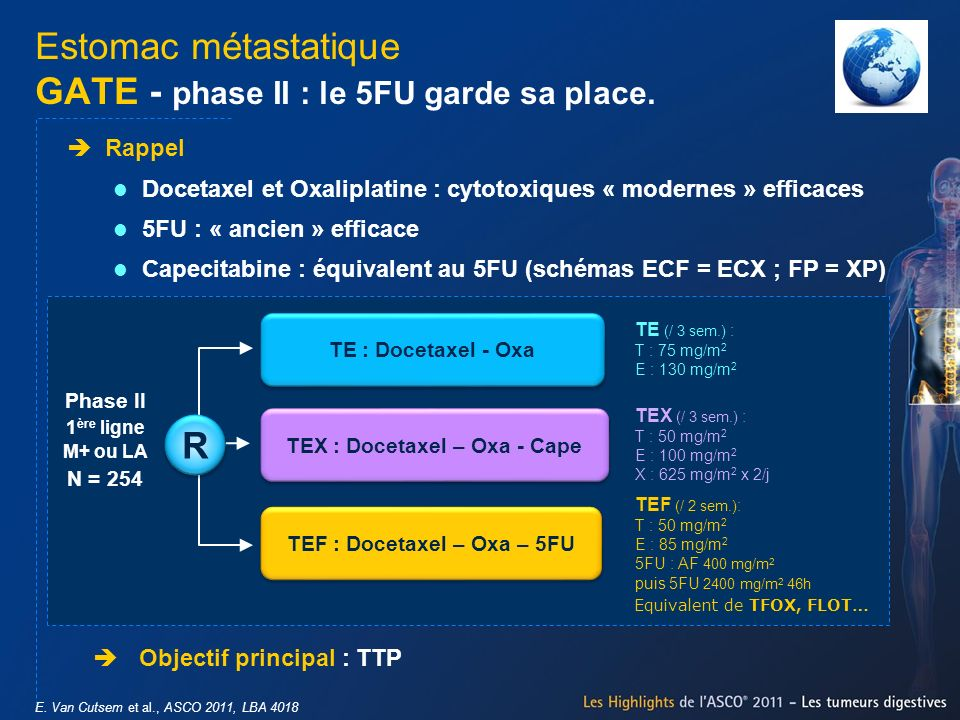 Estomac métastatique GATE - phase II : le 5FU garde sa place. E. Van Cutsem et al., ASCO 2011, LBA 4018 Objectif principal : TTP Rappel Docetaxel et O