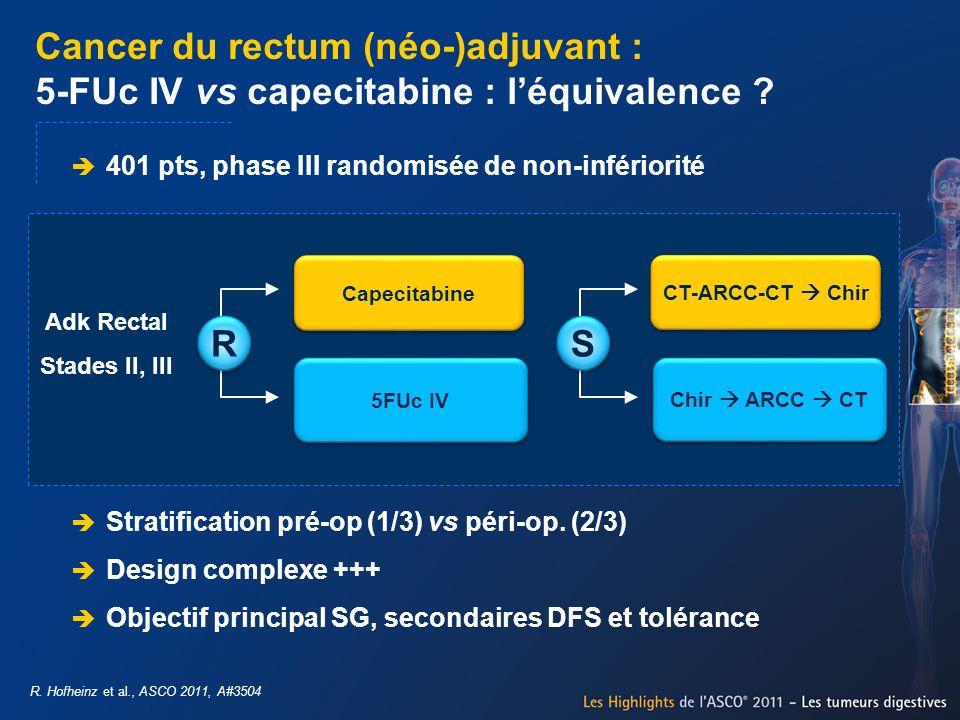 Cancer du rectum (néo-)adjuvant : 5-FUc IV vs capecitabine : léquivalence ? R. Hofheinz et al., ASCO 2011, A#3504 R R 401 pts, phase III randomisée de