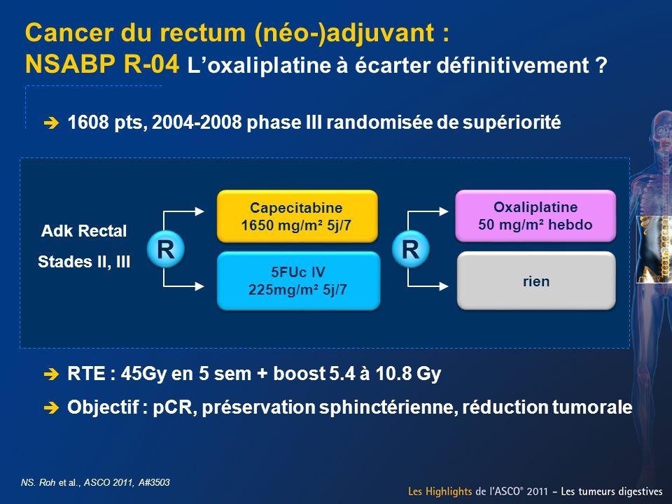 Cancer du rectum (néo-)adjuvant : NSABP R-04 Loxaliplatine à écarter définitivement ? NS. Roh et al., ASCO 2011, A#3503 R R 1608 pts, 2004-2008 phase