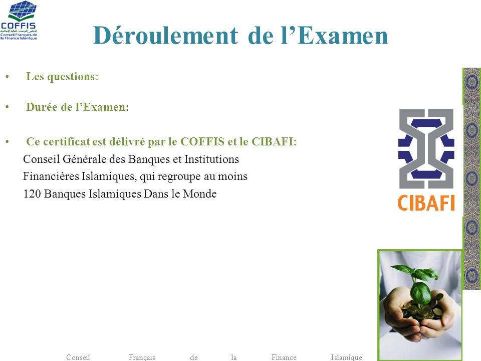 Déroulement de lExamen Les questions: Durée de lExamen: Ce certificat est délivré par le COFFIS et le CIBAFI: Conseil Générale des Banques et Institut
