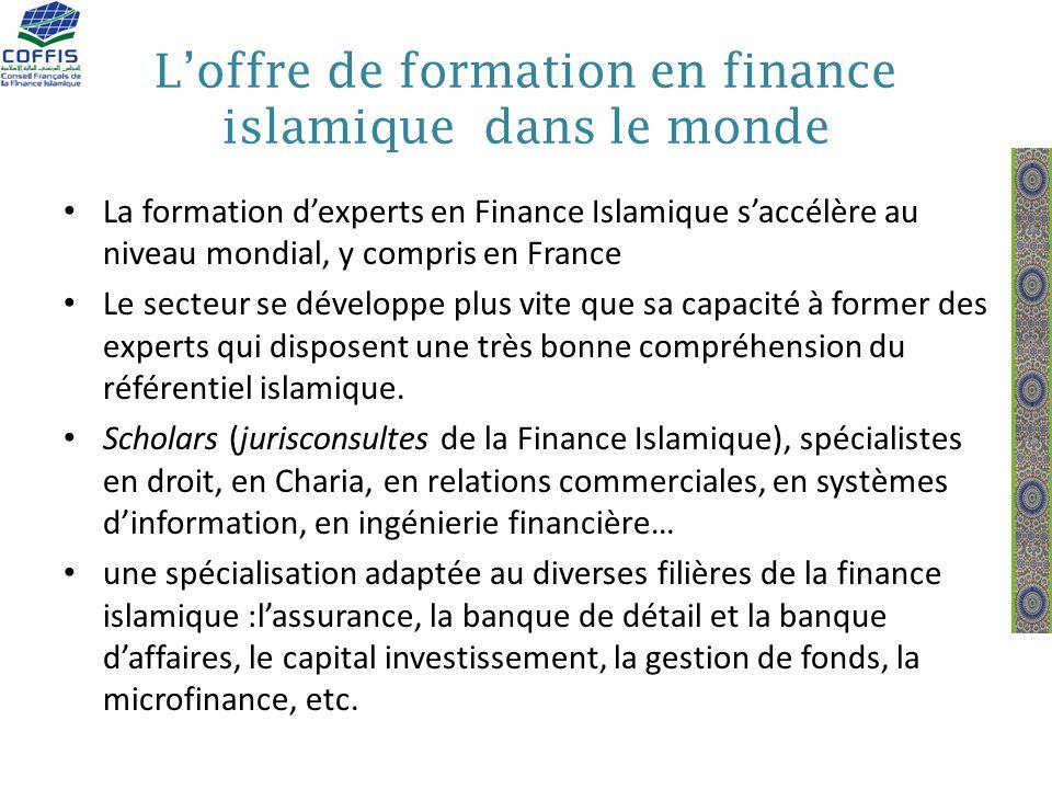 Loffre de formation en finance islamique dans le monde La formation dexperts en Finance Islamique saccélère au niveau mondial, y compris en France Le