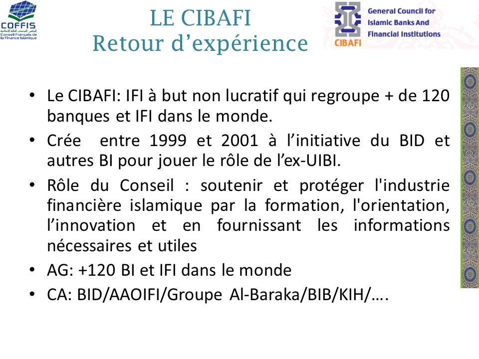 LE CIBAFI Retour dexpérience Le CIBAFI: IFI à but non lucratif qui regroupe + de 120 banques et IFI dans le monde. Crée entre 1999 et 2001 à linitiati