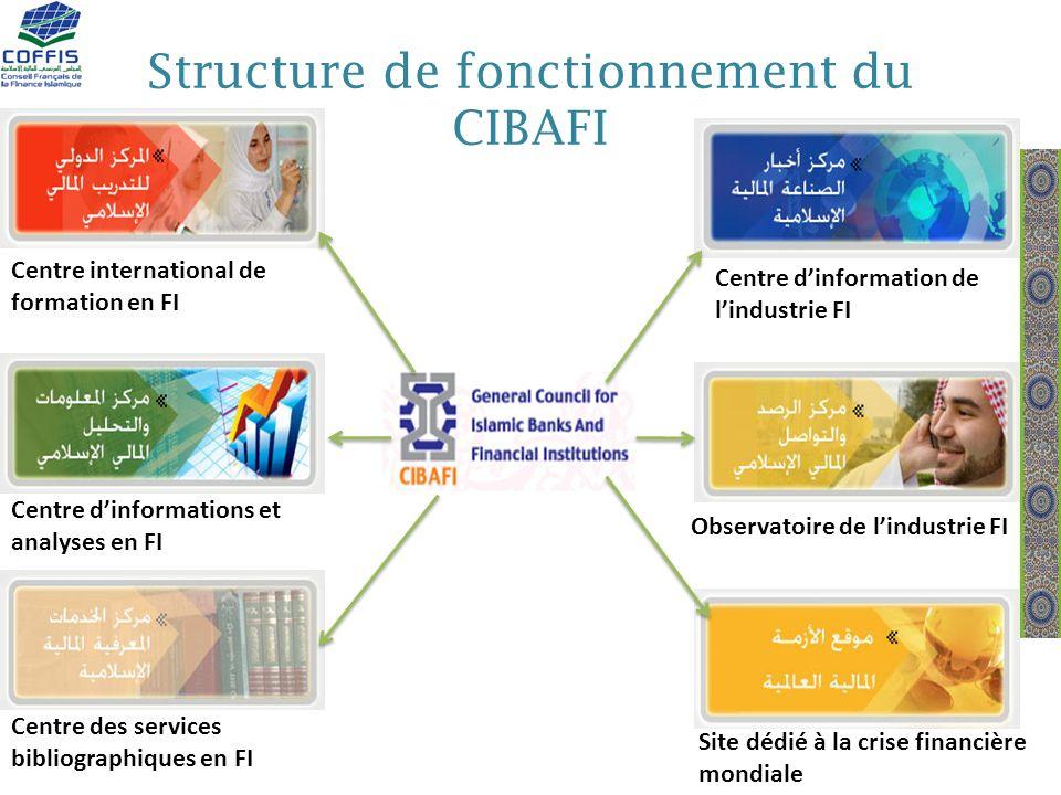 Structure de fonctionnement du CIBAFI Centre dinformation de lindustrie FI Centre international de formation en FI Observatoire de lindustrie FI Centr
