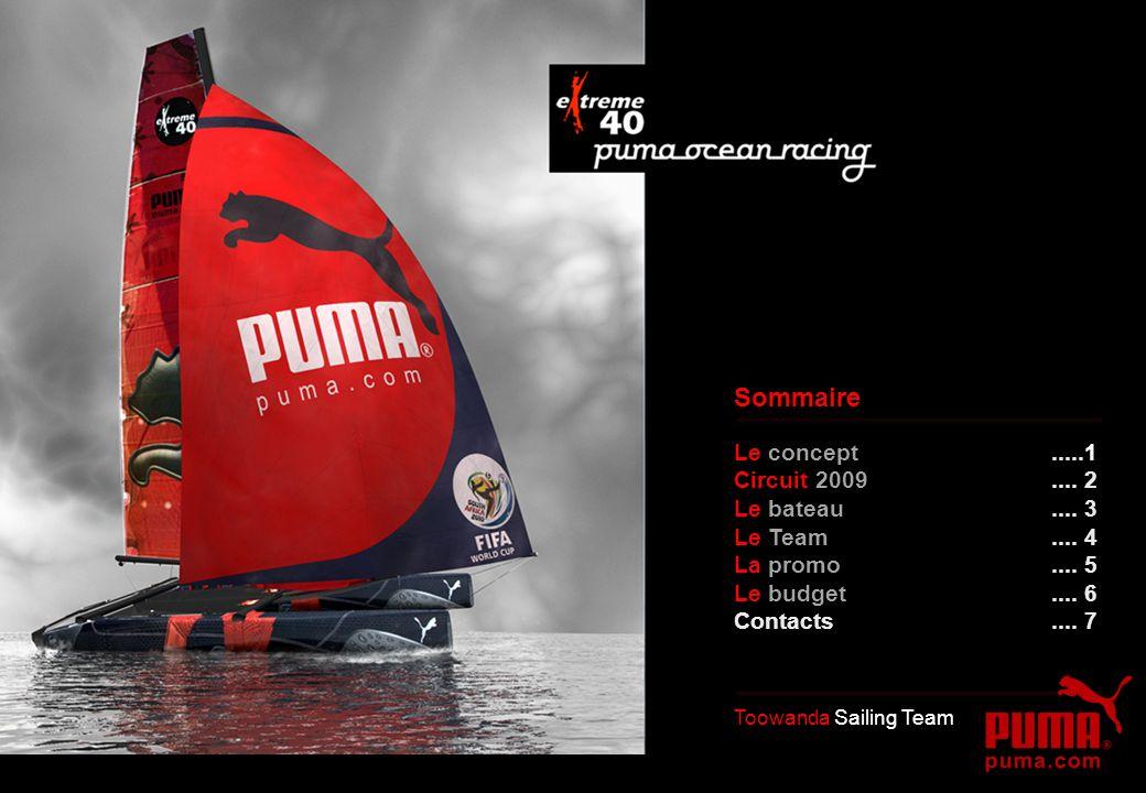 Le concept.....1 Circuit 2009.... 2 Le bateau.... 3 Le Team.... 4 La promo.... 5 Le budget.... 6 Contacts.... 7 Toowanda Sailing Team Sommaire