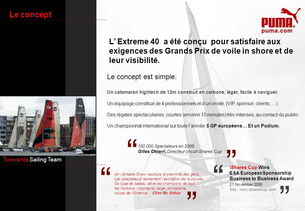Toowanda Sailing Team Le concept L Extreme 40 a été conçu pour satisfaire aux exigences des Grands Prix de voile in shore et de leur visibilité. Le co