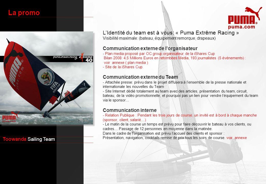 Toowanda Sailing Team La promo LIdentité du team est à vous: « Puma Extrême Racing » Visibilité maximale: (bateau, équipement remorque, drapeaux) Comm