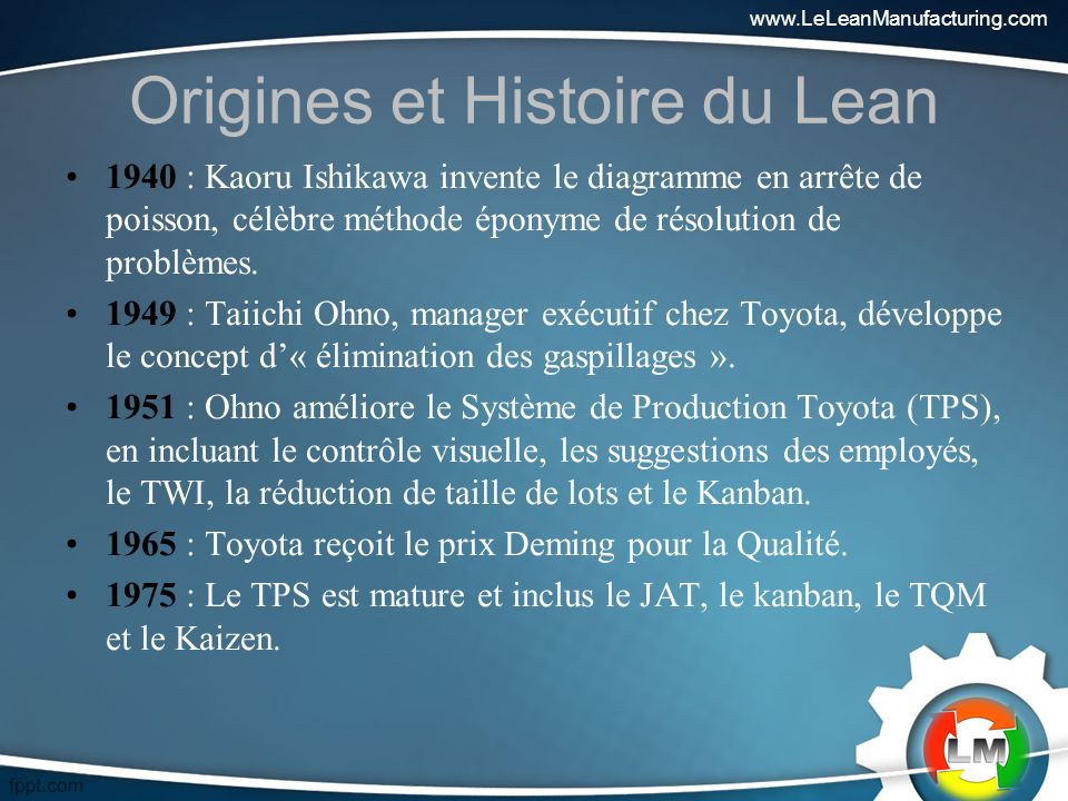 Origines et Histoire du Lean 1940 : Kaoru Ishikawa invente le diagramme en arrête de poisson, célèbre méthode éponyme de résolution de problèmes.