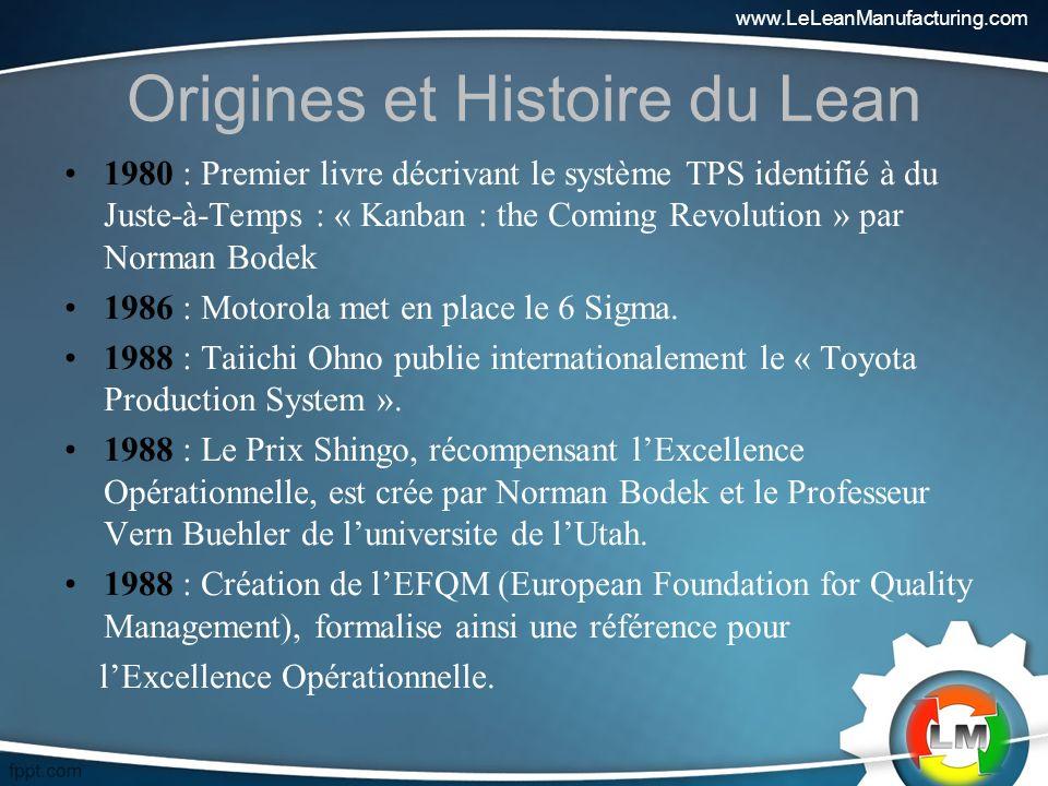 Origines et Histoire du Lean 1980 : Premier livre décrivant le système TPS identifié à du Juste-à-Temps : « Kanban : the Coming Revolution » par Norman Bodek 1986 : Motorola met en place le 6 Sigma.