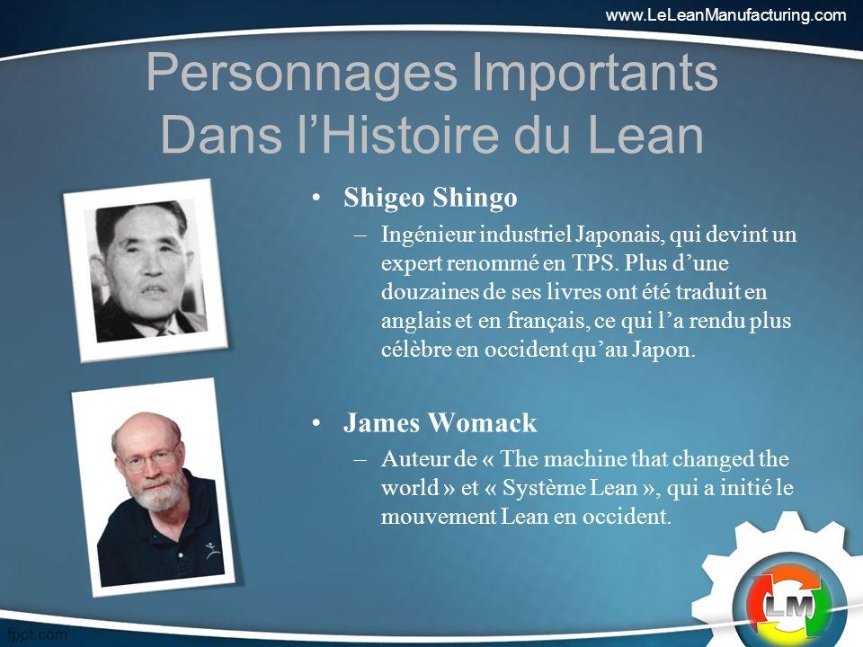 Personnages Importants Dans lHistoire du Lean Shigeo Shingo –Ingénieur industriel Japonais, qui devint un expert renommé en TPS.
