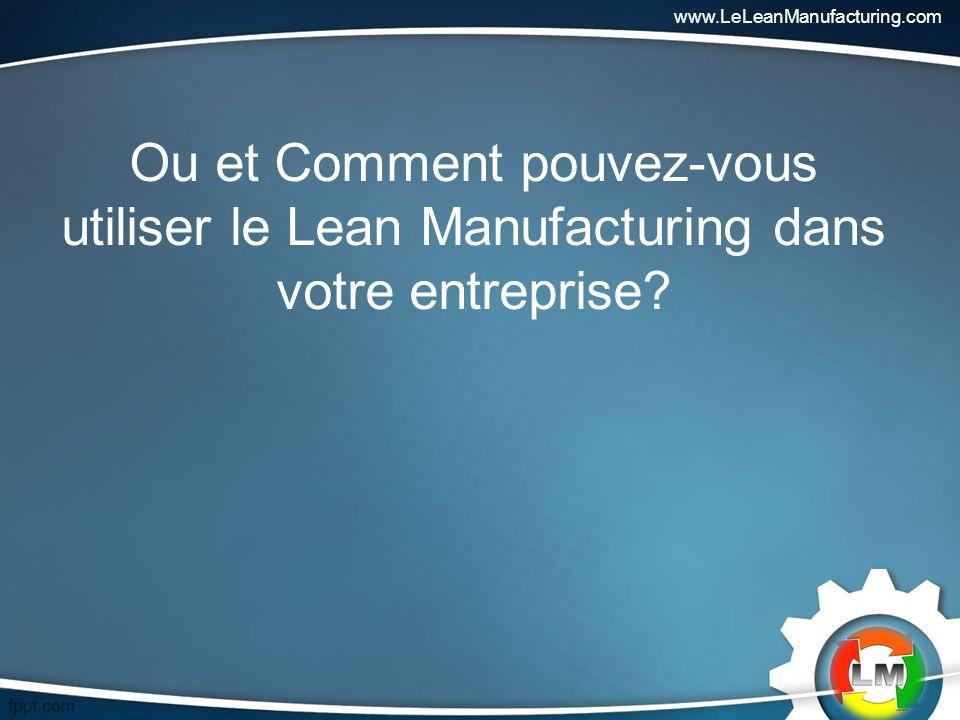 Ou et Comment pouvez-vous utiliser le Lean Manufacturing dans votre entreprise.