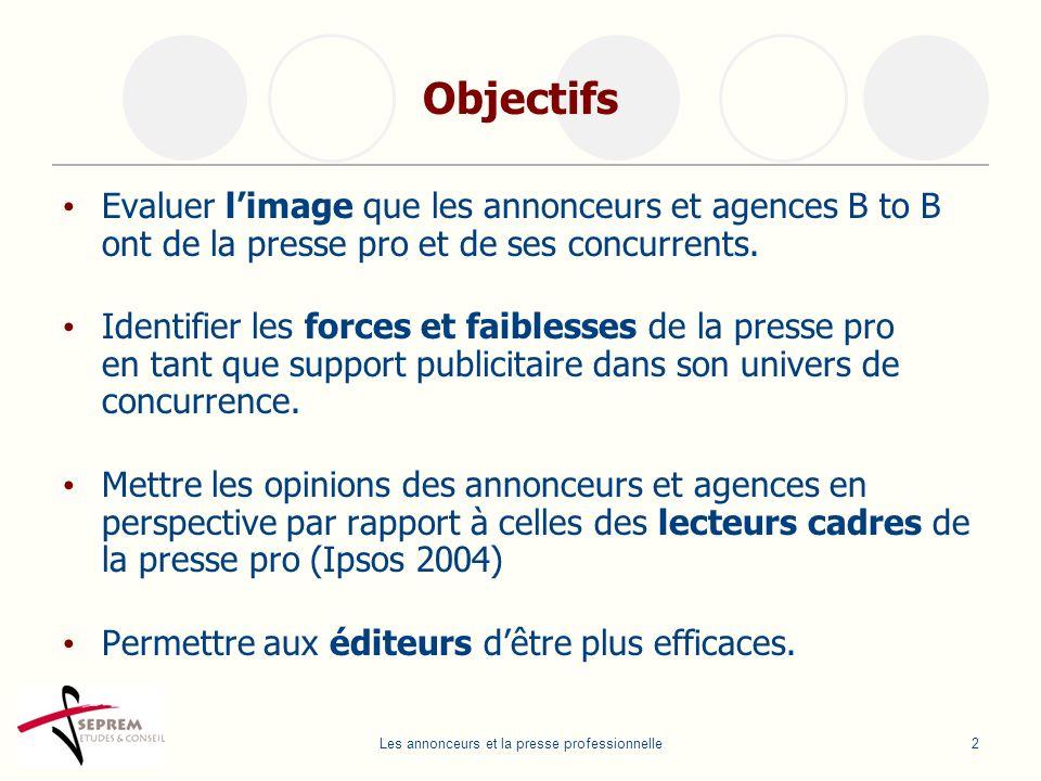 Les annonceurs et la presse professionnelle2 Objectifs Evaluer limage que les annonceurs et agences B to B ont de la presse pro et de ses concurrents.