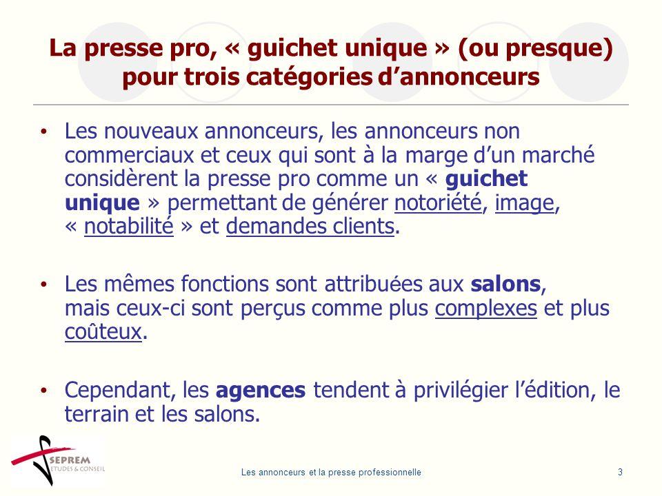 Les annonceurs et la presse professionnelle3 La presse pro, « guichet unique » (ou presque) pour trois catégories dannonceurs Les nouveaux annonceurs,