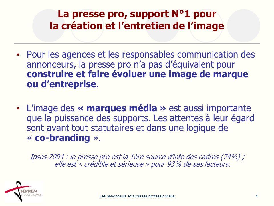Les annonceurs et la presse professionnelle4 La presse pro, support N°1 pour la création et lentretien de limage Pour les agences et les responsables