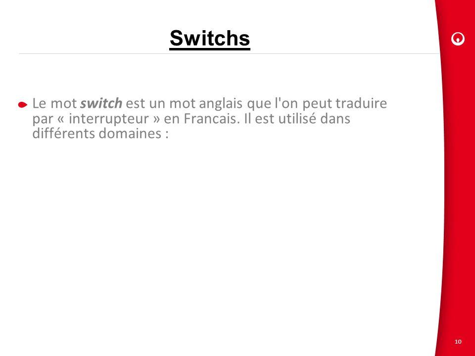 10 Switchs Le mot switch est un mot anglais que l'on peut traduire par « interrupteur » en Francais. Il est utilisé dans différents domaines :