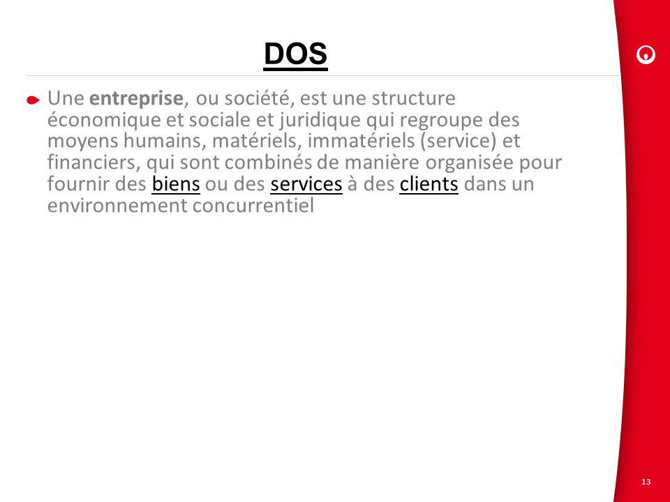 13 DOS Une entreprise, ou société, est une structure économique et sociale et juridique qui regroupe des moyens humains, matériels, immatériels (servi