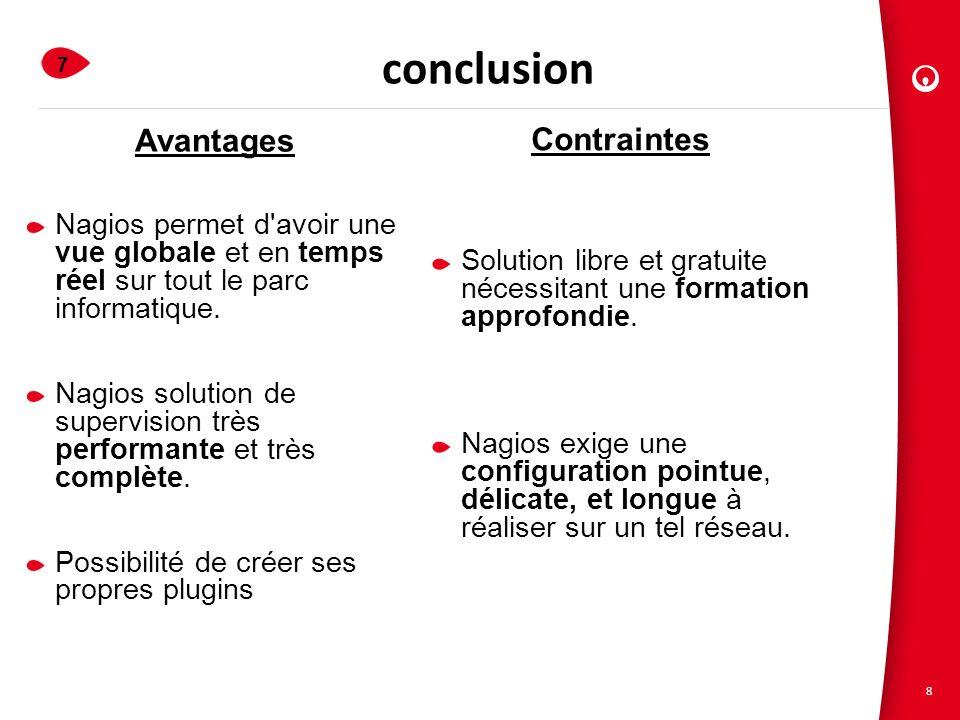 8 conclusion 7 1.Veolia Propreté 2. Présentation du Projet 3. Nagios et les Plugins 4. Configuration de Nagios 5. SNMP 6. Apports du projet Avantages