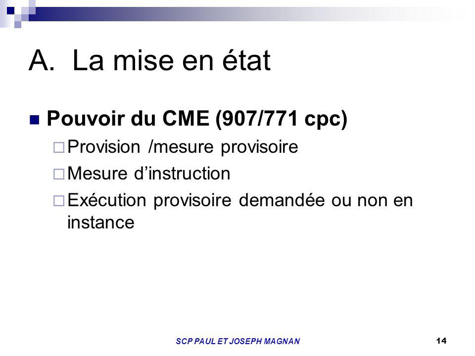 14 A.La mise en état Pouvoir du CME (907/771 cpc) Provision /mesure provisoire Mesure dinstruction Exécution provisoire demandée ou non en instance SC