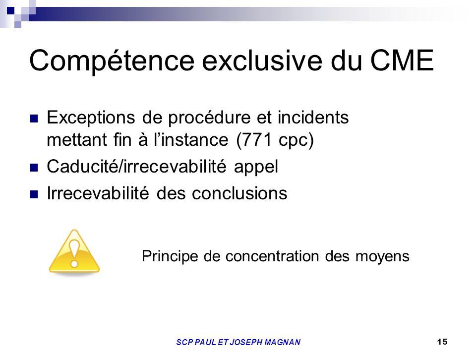 15 Compétence exclusive du CME Exceptions de procédure et incidents mettant fin à linstance (771 cpc) Caducité/irrecevabilité appel Irrecevabilité des