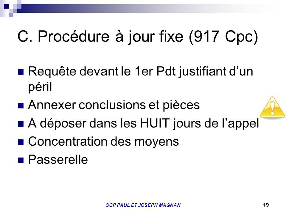 19 C. Procédure à jour fixe (917 Cpc) Requête devant le 1er Pdt justifiant dun péril Annexer conclusions et pièces A déposer dans les HUIT jours de la