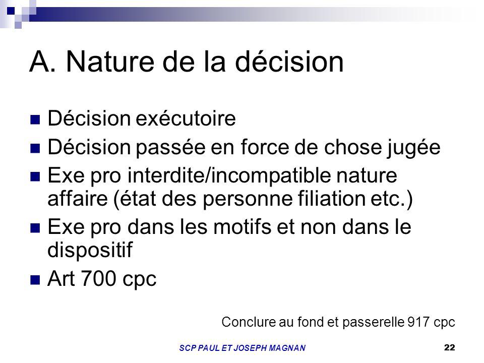22SCP PAUL ET JOSEPH MAGNAN 22 A. Nature de la décision Décision exécutoire Décision passée en force de chose jugée Exe pro interdite/incompatible nat