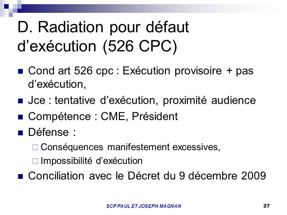 27SCP PAUL ET JOSEPH MAGNAN 27 D. Radiation pour défaut dexécution (526 CPC) Cond art 526 cpc : Exécution provisoire + pas dexécution, Jce : tentative