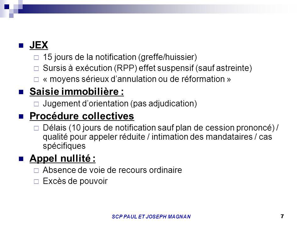 7SCP PAUL ET JOSEPH MAGNAN 7 JEX 15 jours de la notification (greffe/huissier) Sursis à exécution (RPP) effet suspensif (sauf astreinte) « moyens séri