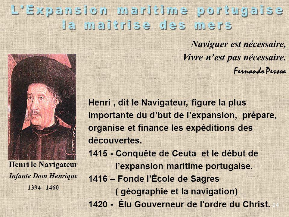 24 Henri le Navigateur Infante Dom Henrique 1394 - 1460 Henri, dit le Navigateur, figure la plus importante du dbut de lexpansion, prépare, organise e