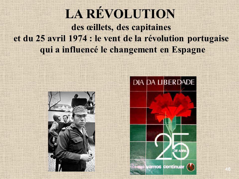 46 LA RÉVOLUTION des œillets, des capitaines et du 25 avril 1974 : le vent de la révolution portugaise qui a influencé le changement en Espagne