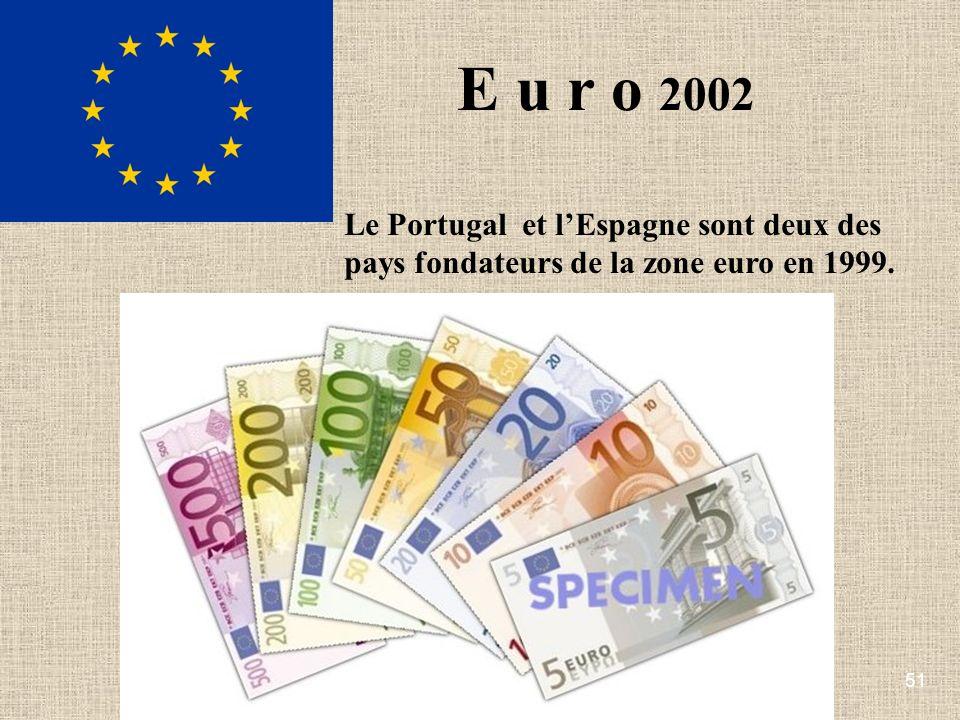 51 E u r o 2002 Le Portugal et lEspagne sont deux des pays fondateurs de la zone euro en 1999.