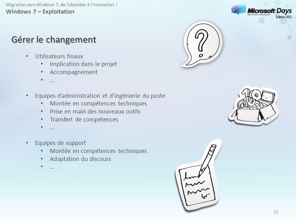 16 Gérer le changement Utilisateurs finaux Implication dans le projet Accompagnement … Equipes dadministration et dingénierie du poste Montée en compé