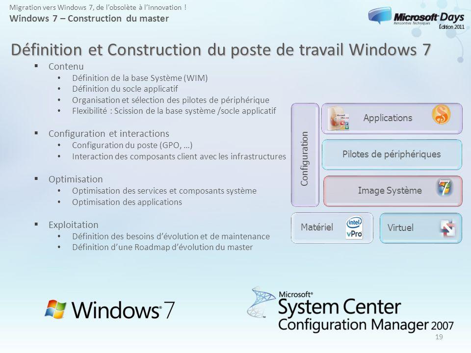 19 Migration vers Windows 7, de lobsolète à linnovation ! Windows 7 – Construction du master Définition et Construction du poste de travail Windows 7