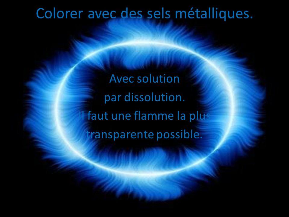 Colorer avec des sels métalliques. Avec solution par dissolution. Il faut une flamme la plus transparente possible.