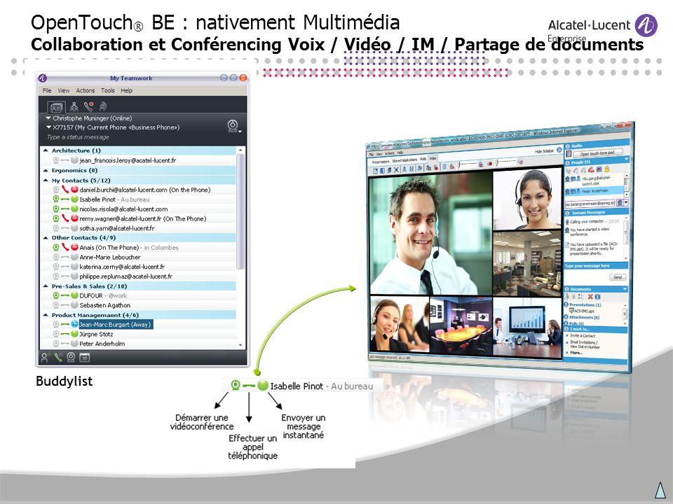 OpenTouch ® BE : nativement Multimédia Collaboration et Conférencing Voix / Vidéo / IM / Partage de documents Buddylist