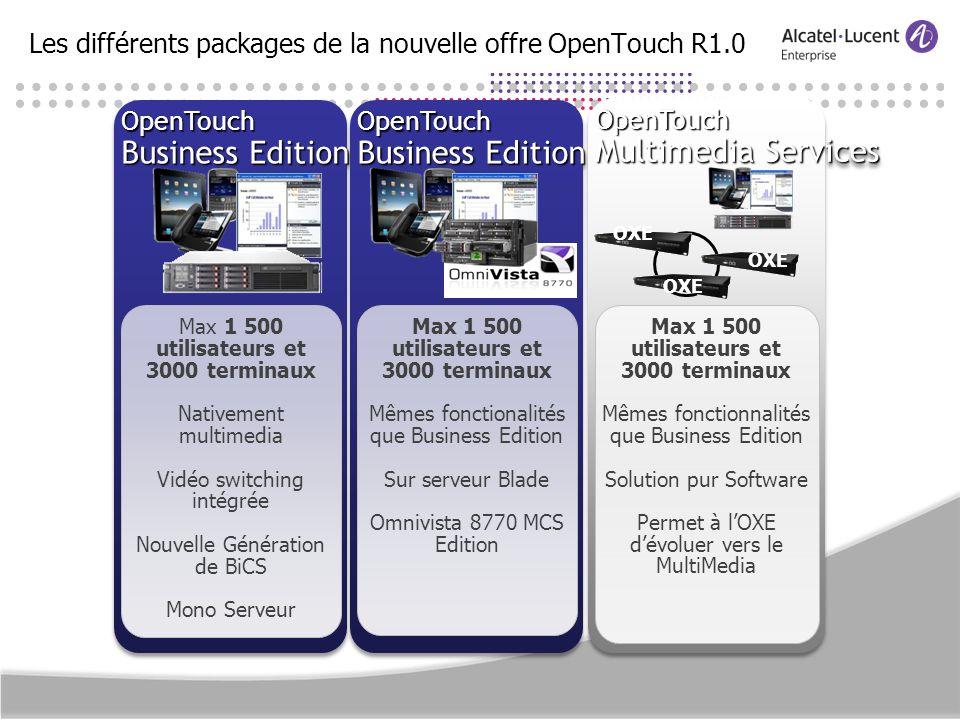 Les différents packages de la nouvelle offre OpenTouch R1.0OpenTouch Business Edition OpenTouch Max 1 500 utilisateurs et 3000 terminaux Nativement mu