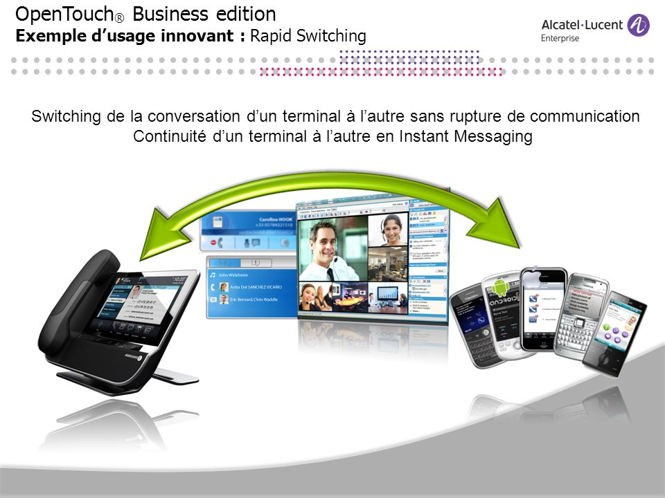 OpenTouch ® Business edition Exemple dusage innovant : Rapid Switching Switching de la conversation dun terminal à lautre sans rupture de communicatio