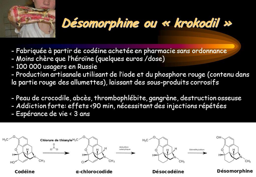 Le Kratom - Issu dun arbre dAsie SE (Mitragyna speciosa) - Feuilles mâchées ou infusées pour obtenir une pâte - Substitut à lopium, narcotique et euphorisant à forte dose - Mélange de Mitragynine et 7-hydroxymitragynine: alcaloïdes indoles proches de la yohimbine, agonistes des récepteurs opiacés µ et δ supraspinaux, activation des voies noradrénergiques et sérotoninergiques spinales - Vendu sur internet - 9 décès par syndrome opioïde en 2011 Kronstrand R.