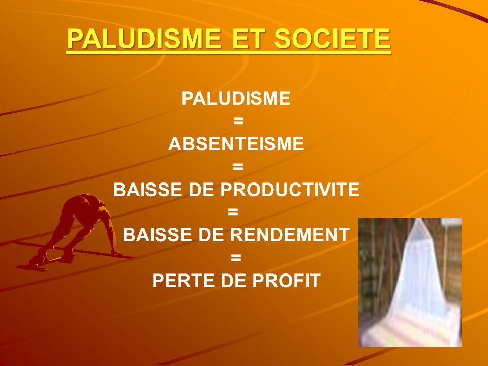 PALUDISME ET SOCIETE PALUDISME = ABSENTEISME = BAISSE DE PRODUCTIVITE = BAISSE DE RENDEMENT = PERTE DE PROFIT