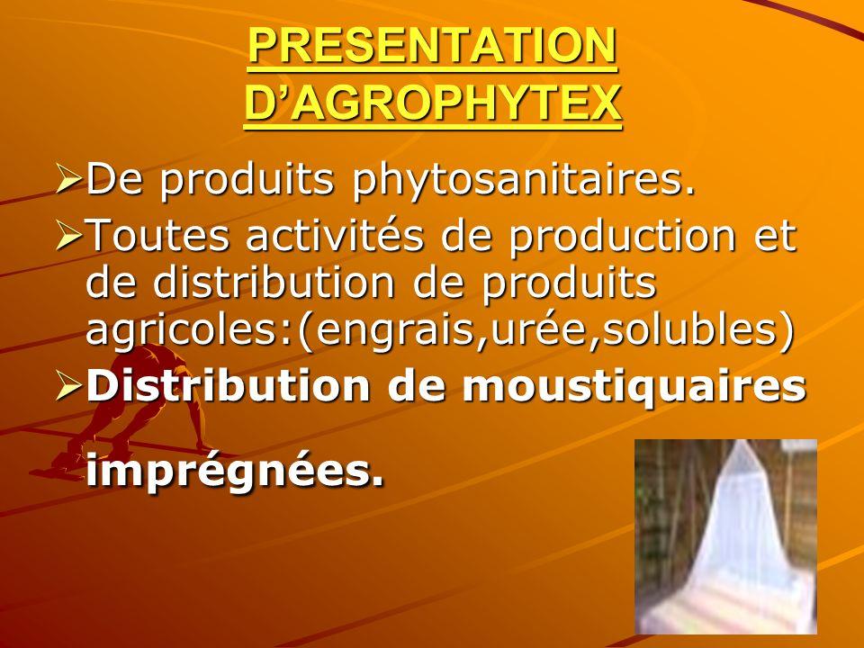 PRESENTATION DAGROPHYTEX De produits phytosanitaires. De produits phytosanitaires. Toutes activités de production et de distribution de produits agric