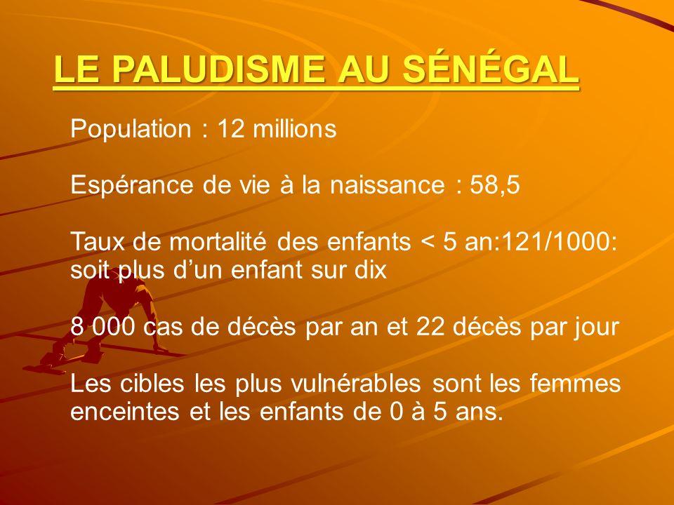 LE PALUDISME AU SÉNÉGAL Population : 12 millions Espérance de vie à la naissance : 58,5 Taux de mortalité des enfants < 5 an:121/1000: soit plus dun e
